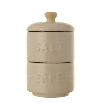 Set of Stackable Salt and Pepper Pots with Lids