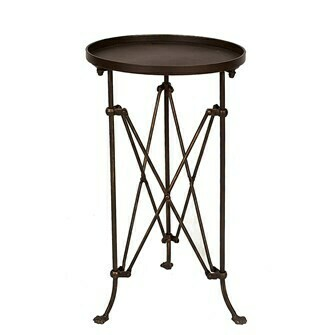 Round Metal Table with Bronze Finish