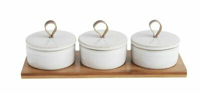 Stoneware Covered Pinch pots on  Mango Wood Tray w/Leather Loop Handle