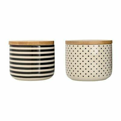 Stoneware Jar with Wood Lid