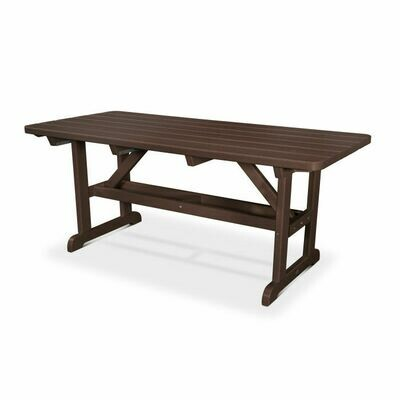 Harvester Dining Table and (2) Backless Benches in the color, Mahogany