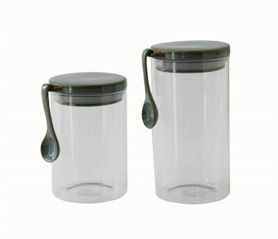 Pair of Pixie Glass Jars with Spoon
