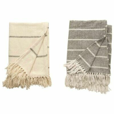 Brushed Cotton Striped Throw with Frinfge