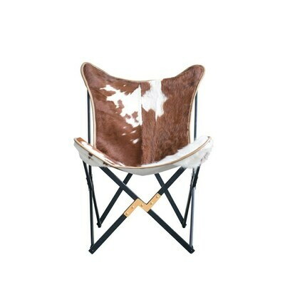 Cowhide & Metal Foldable Butterfly Chair