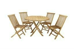 Foldable Octagonal Teak Table w/ 4 Chairs