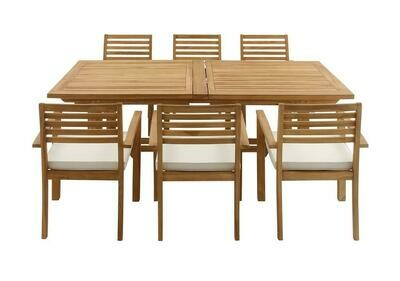 Teak Outdoor Table and 6 Chairs