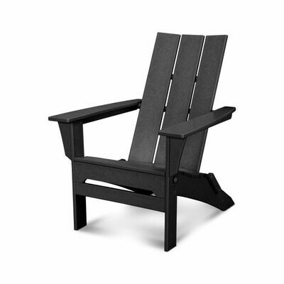 Pair of Black Modern Folding Adirondack Chairs with a Side table