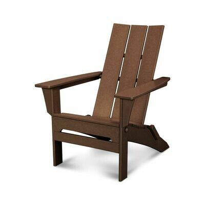 Pair of Modern Folding Adirondack Chairs with a side Table in Mahogany
