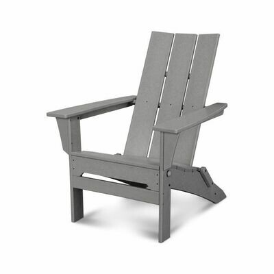 Pair of Gray Modern Folding Adirondack Chairs with a side table