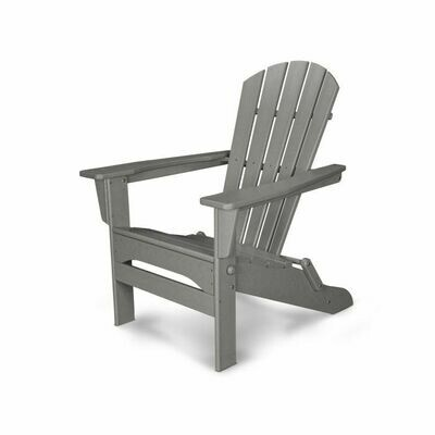 Pair of Gray Palm Coast Folding Adirondack Chairs with a Side Table