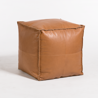 Barret Small Pouf in Old Brandy
