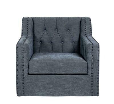 Valerie Swivel Chair in Blue Chenille