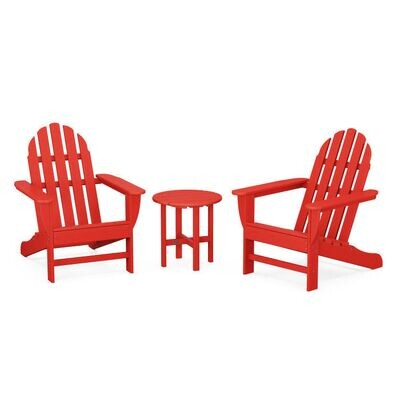 Pair of Classic Adirondack Chairs & Side Table- Red