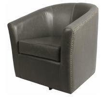 Ernest Swivel Barrel Chair in Vintage Grey