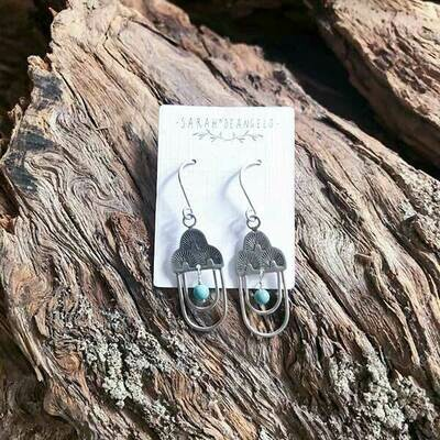 Southwest Stamped Turquoise Earrings