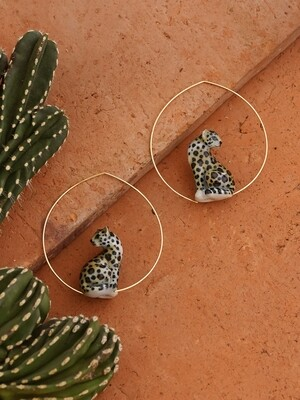 Sitting Leopard Hoops