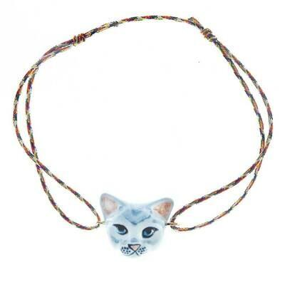 Grey Cat Multicolor Charm Bracelet