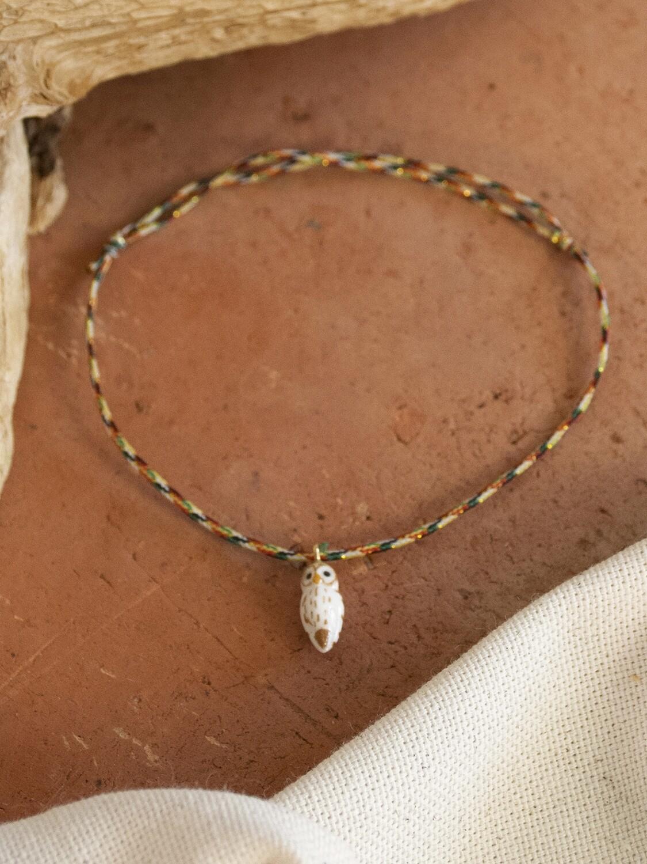 White Owl Multicolor Charm Bracelet