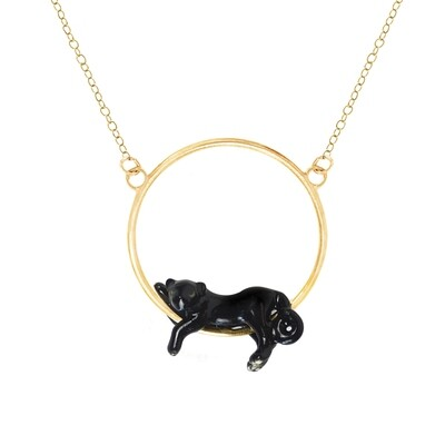 Lying Panther Mini Round Necklace