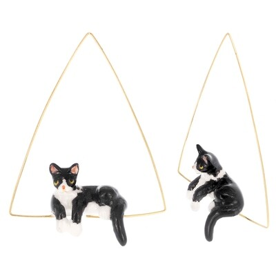 Chill Kitty Triangle Hoops