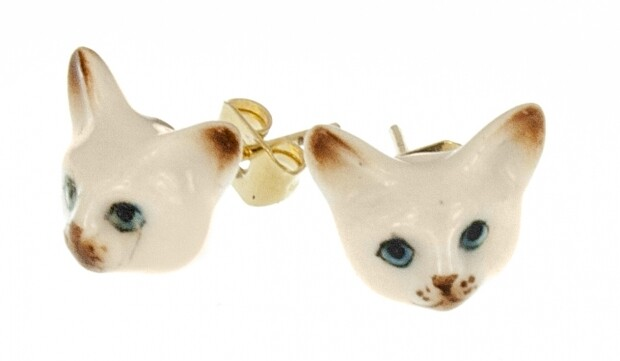 Siamese Cat Stud Earrings