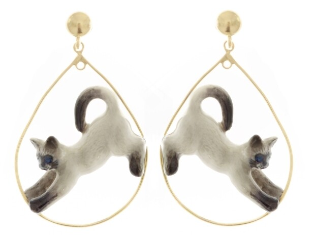 Stretching Siamese Cat Hoops