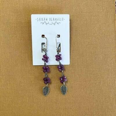 Ruby Flower Drop Earrings