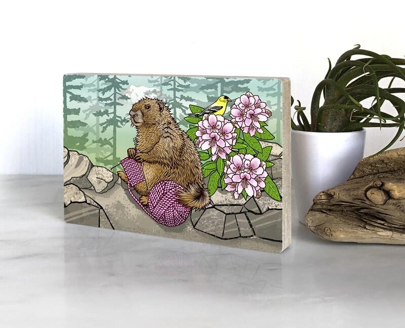 Knitting Marmot 4 x 6 Printed Block