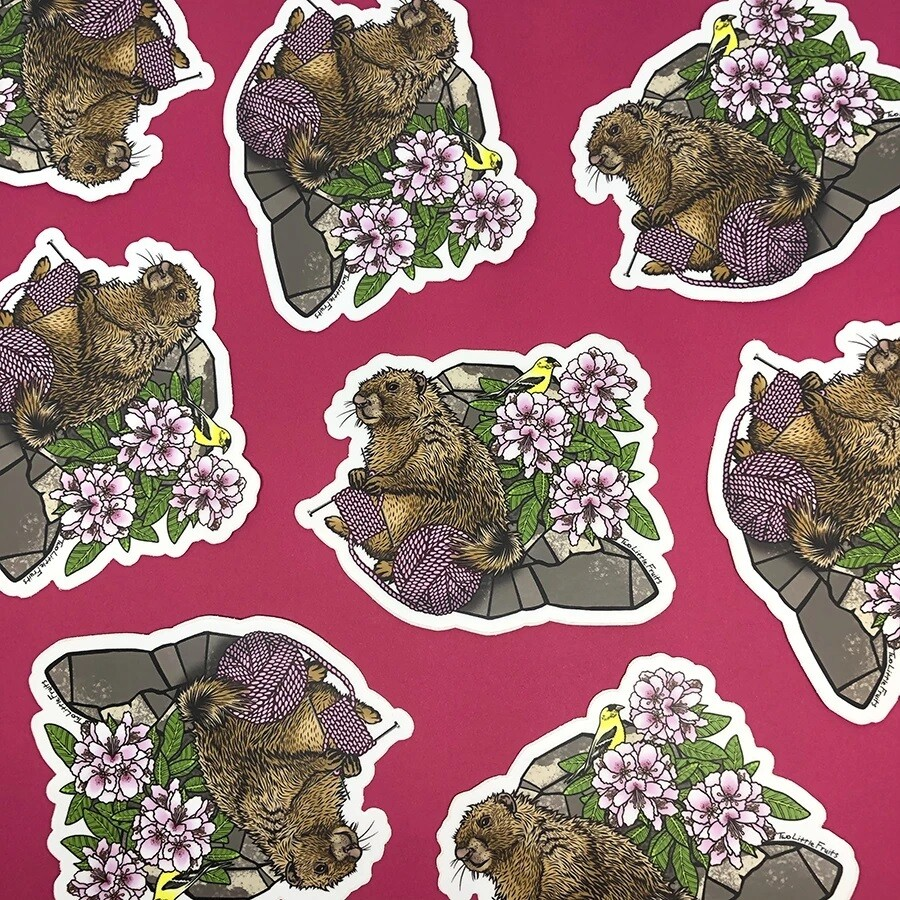 Knitting Marmot Sticker
