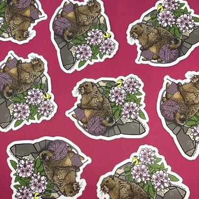 Knitting Marmot Sticker