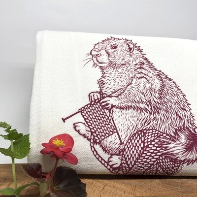 Knitting Marmot Tea Towel