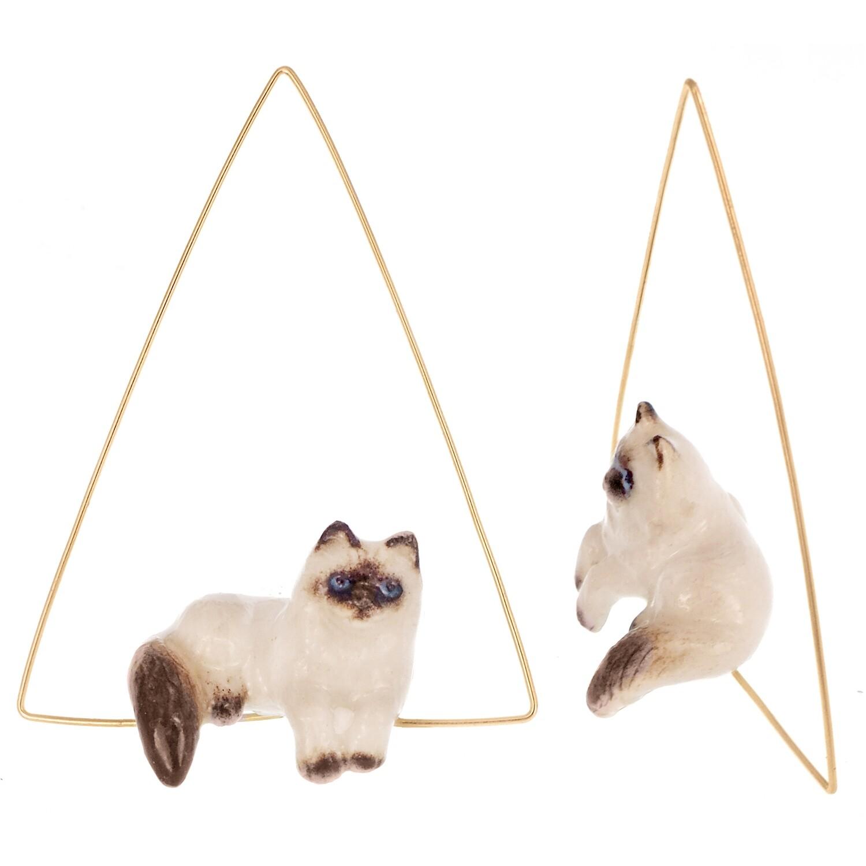 Relaxing Siamese Earrings