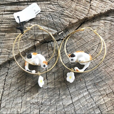 Calico Cat Flower Hoops