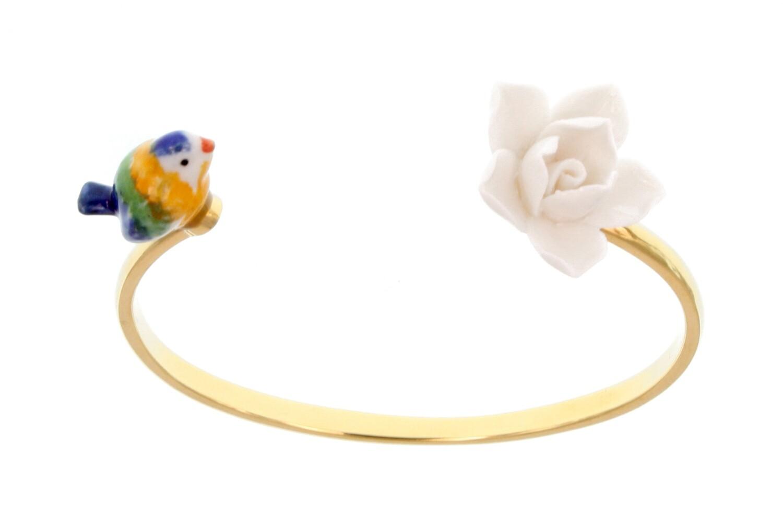 Bird Flower Cuff Bracelet