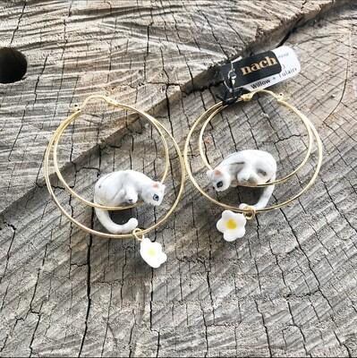 Gray Cat Flower Hoops