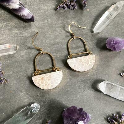Gem Moon Earrings