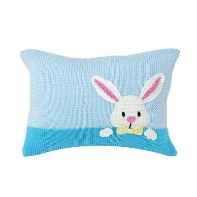 Bunny Peek Pillow, Blue