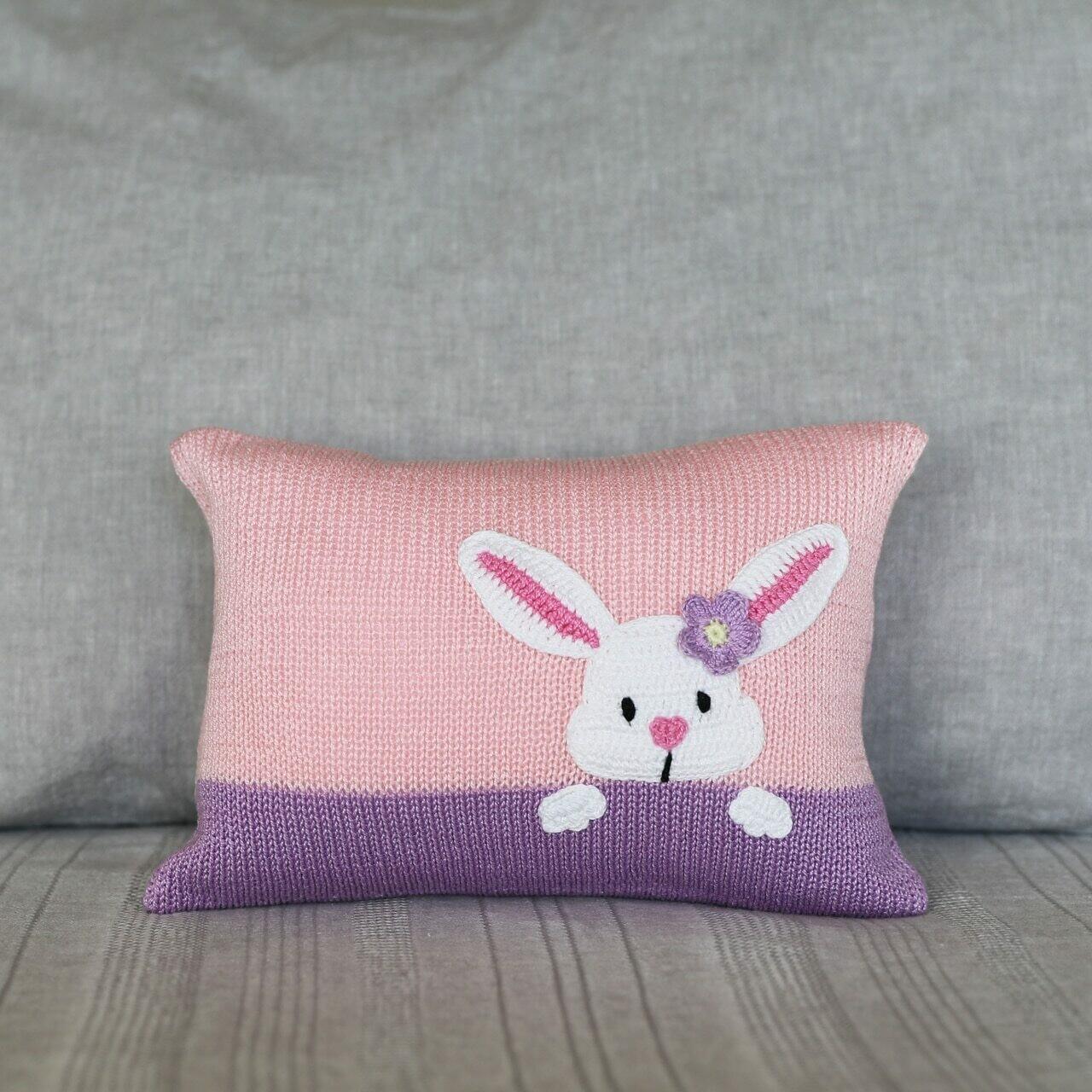 Bunny Peek Pillow, Pink