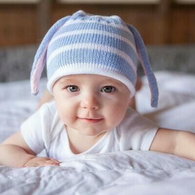 Baby Hat w Ears, blue, L