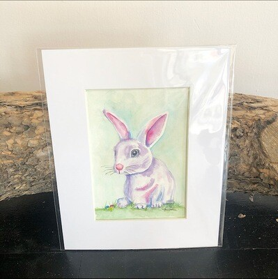 Sitting Purple Bunny 8x10