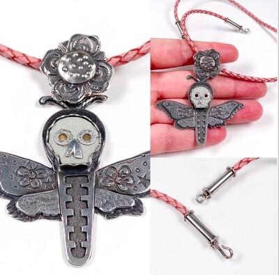 Death Head Moth w/ Flowers w/ Leather Cord