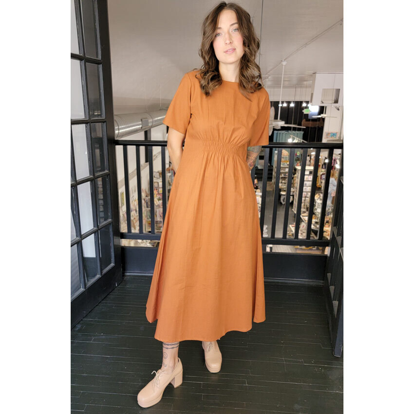 Artsy Traveler Midi Dress - Terracotta