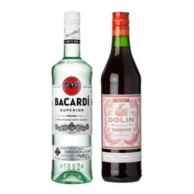 Bacardi Superior and Dolin's Rougue vermouth