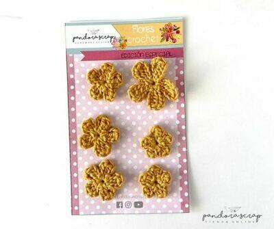 Flores de Crochet - Mostaza