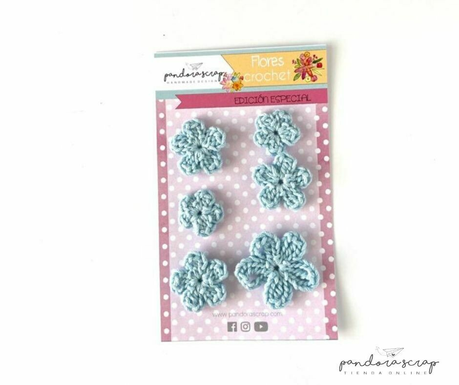 Flores de Crochet - Azul Bebé
