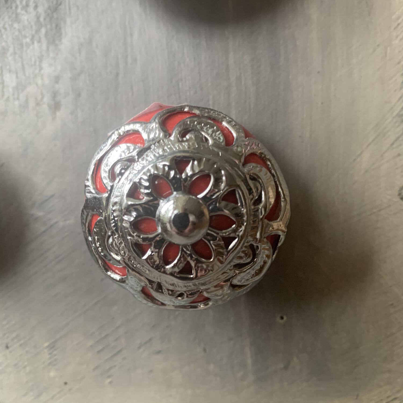 Ornate Red & Silver Metal Knob