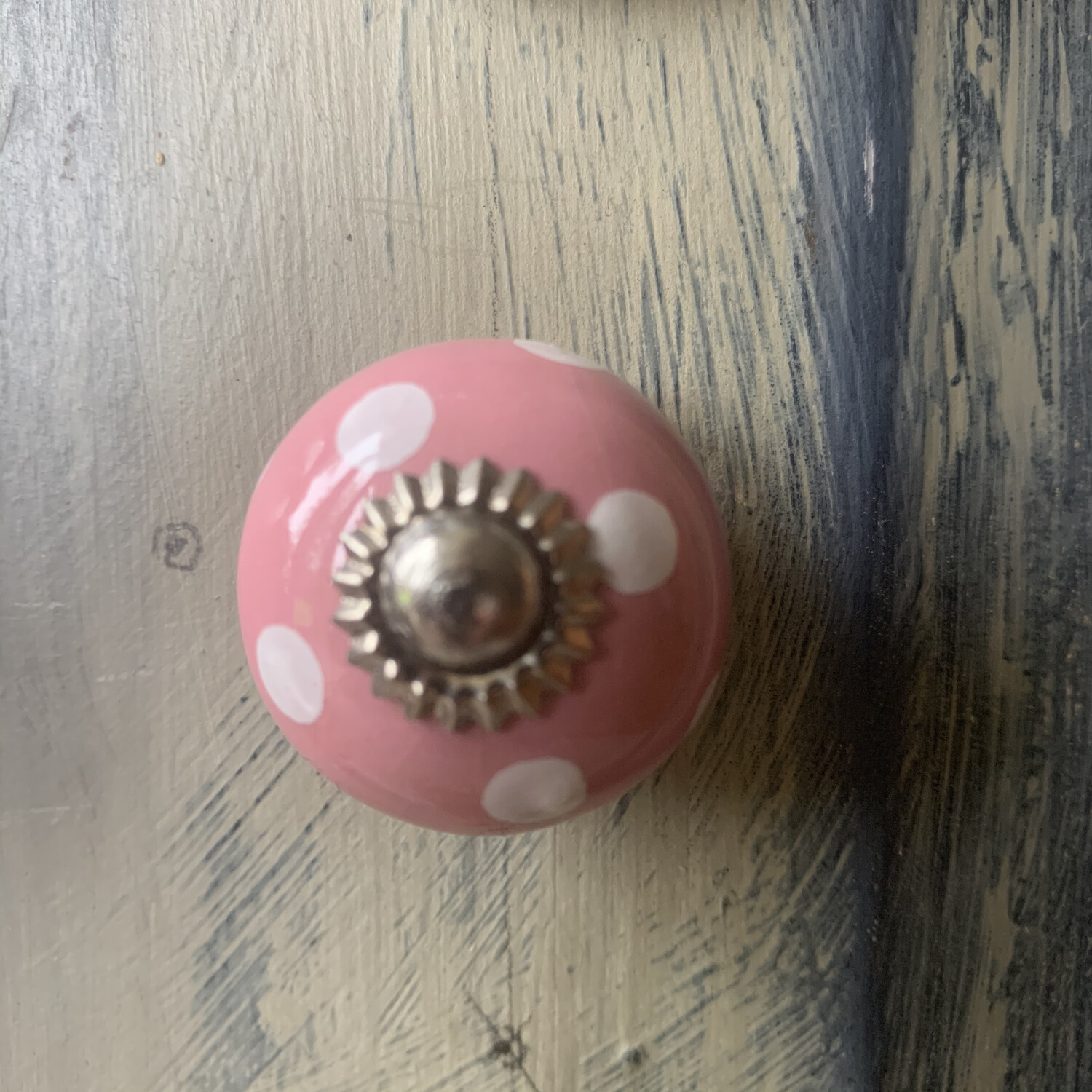 Baby Pink with White Polka Dots 30mm Knob