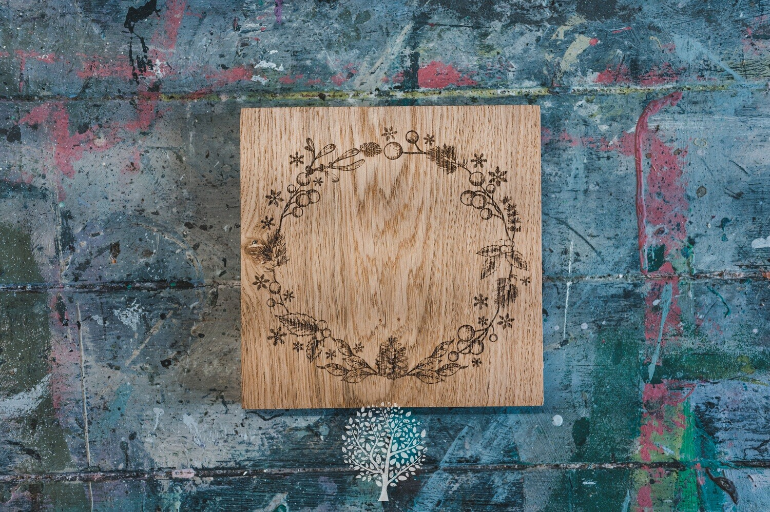 English Oak Engraved Christmas Board by LapageMade