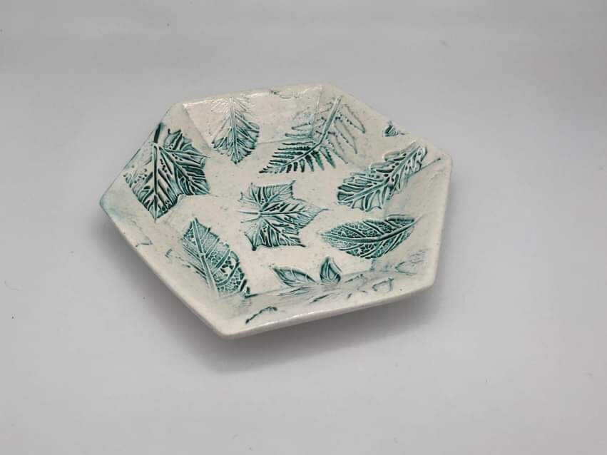 Botanical Hexagonal Side Plate by Quite Contrary Pottery