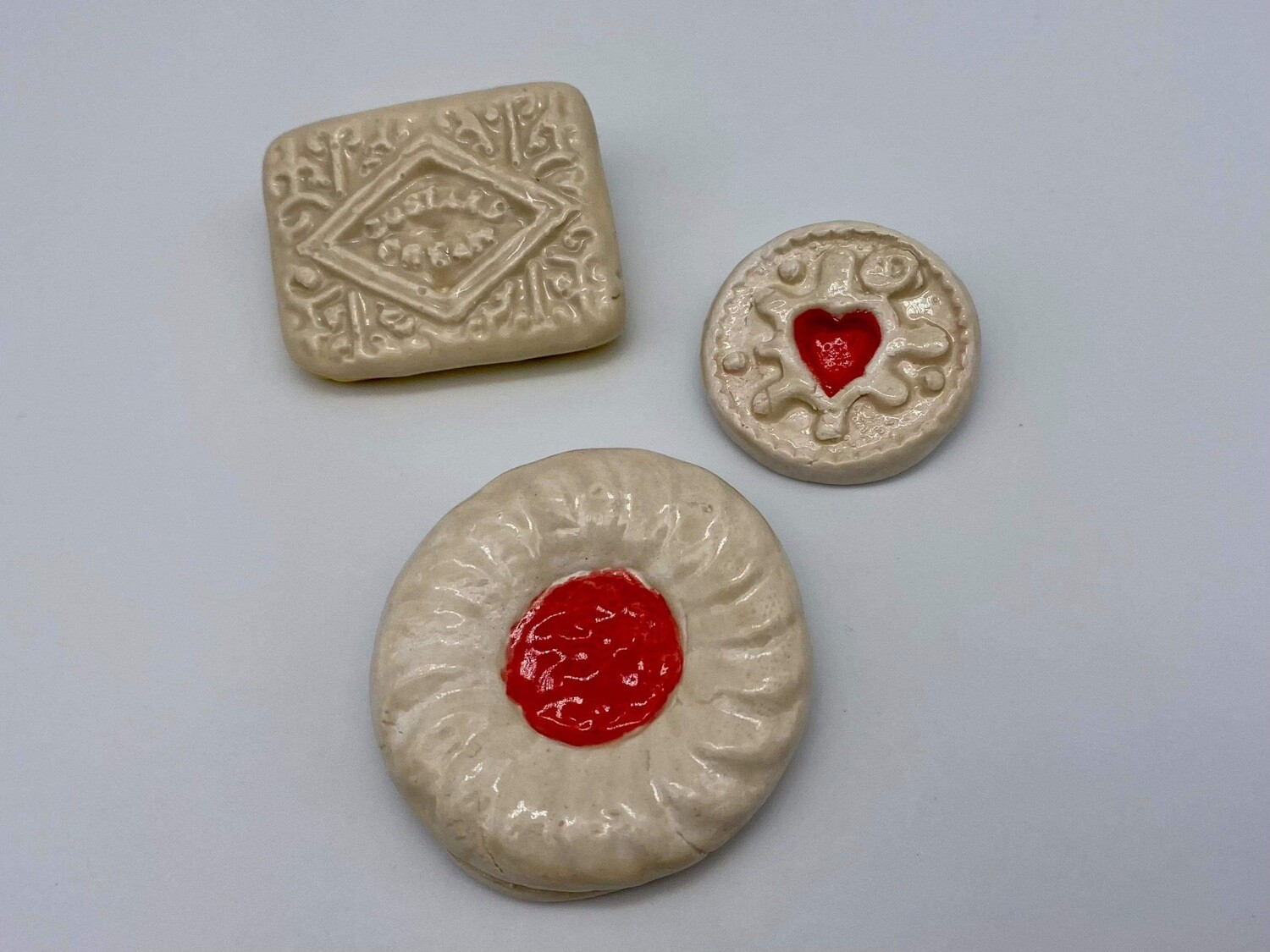 Pottery Biscuit Brooches